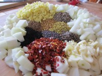 spices onions garlic and ginger
