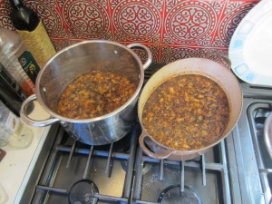 simmering all the ingredients of our Indian pear chutney